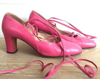 Vintage hot pink leather heels UK size 5.5