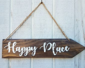 Arrow Wood Sign, Rustic Sign, Direction Wood Sign, Rustic Home Decor, Happy Place sign, Wedding Directional Sign, Custom Sign,Reclaimed Wood