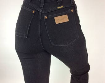 VINTAGE LADY WRANGLER Jeans, Black, High Waisted, Natural Distress, Faded, 70's, 80's, Western, Retro, Denim, Cowgirl, Rodeo, Boho Hippy 24""