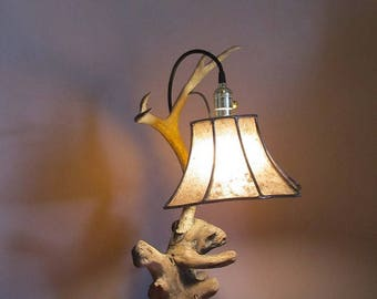 Original Driftwood and Antler Table Lamp
