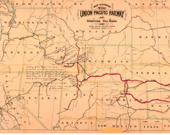 "Segment of a Union Pacific Railway and connecting rail roads, 1881  Digital Download - has misc. annotations in ink and pencil 17"" x 27"""