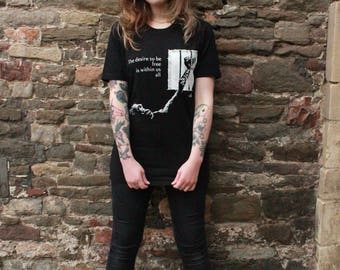 Animal Justice Project - Freedom, Eco ladies fitted Black T-shirt