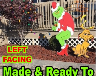 GRINCH Stealing CHRISTMAS Lights Yard Art Decor left Facing Grinch & Max The Dog Free Shipping  Grinch LEFT Facing