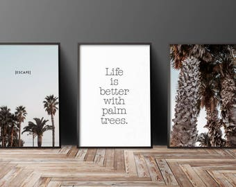 Palms Escape Decoration Pictures 3-er set pictures wall Impressions gift Idea S016