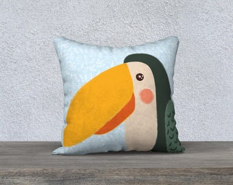Pillow case, room child, animal, pelicon, blue background, local design illustration