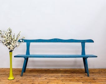 Antique French Wooden Bench in Blue