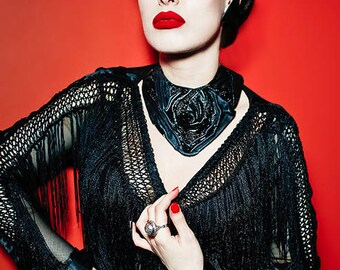 Avant-garde black  leather and beads necklace, choker, bib