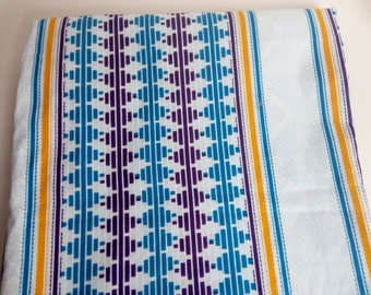Wax / Ankara - Fabric - Kente from Ivory Cost - white and bleu - sold by the meter