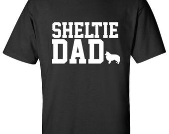 Shetland Sheepdog Sheltie Dog Dad Logo Graphic T Shirt