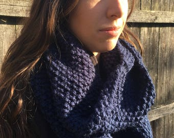 Cozy Chunky Winter Knit Infinity Scarf Circle Scarf, Choose Your Color