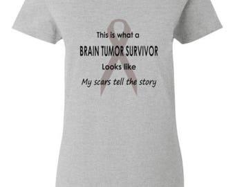 Ladies Brain Tumor Survivor T-Shirt