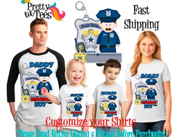 POLICE MAN Birthday Boy Theme Family WHITE Shirts For the Entire Family Mom Dad and More T-shirts Long/ Short sleeve officer policeman