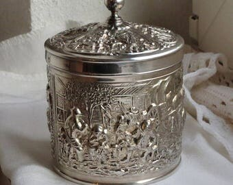 Vintage repousse relief silver plate tea caddy. Old Dutch design made for Douwe Egberts Holland 1950s