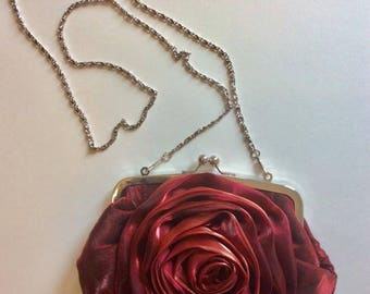 Rosette Evening Clutch with silver chain