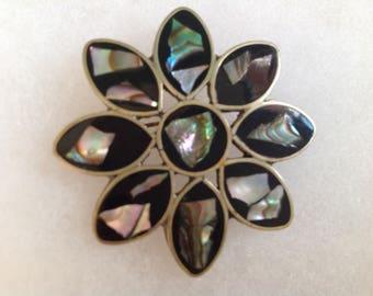Vintage! Silver tone abalone & black enamel Mexican pin.