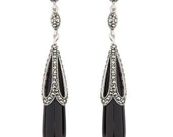 Ada Drop Earrings | Black Onyx, Marcasite and Sterling Silver