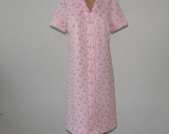 Vintage 70s Pink romantic dress Midi dress Ornament dress Pink secretary dress Elegant dress Pink midi dress Short sleeve dress Office dress
