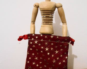 Black Red and Gold Square Pouch Tarot Wicca Witchy Runes