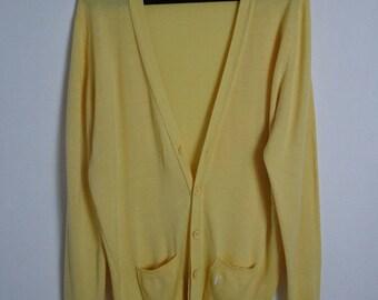 Vintage Yves Saint Laurent  YSL yellow cardigan