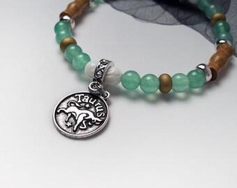 TAURUS Zodiac Sign Glass Wood Bead Bracelet Evil Eye Protection Luck Charm