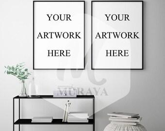 2 Panel Frame Mockup, Thin Black Frame, Styled Stock Photograpy, Scandinavian Style Interior, PSD Mockup, Digital Item, Modern Design