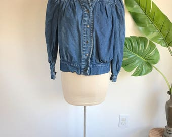 Vintage Pleated 80's Denim Jacket Size Large, Made in Turkey Puffed Sleeves