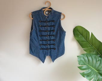 Vintage 90's Denim Military Style Nehru Collar Vest Size Large