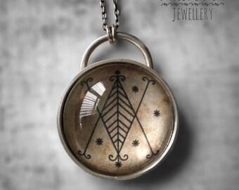 Sterling Silver VeVe / VeVe Talisman / Voodoo Amulet / Vodou Pendant  / Occult Necklace  / Magic Pendant  / Loa