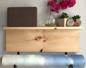 Ships Today | Yoga Mat Holder and Shelf, Natural Stained | One of a Kind Wall Mounted Yoga Mat Rack
