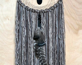 "Gray, charcoal & black 12""  Dreamcatcher"