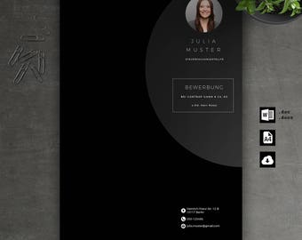 Application Template: Cover page, CV, letter for Word | Instant Digital Download | Mac or PC//No. 7.5 Black