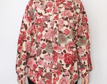 Vintage ribbed rose shirt - western shirt for men - corduroy men's pearl snap button up shirt - 90s flower floral pattern - beige pink - L