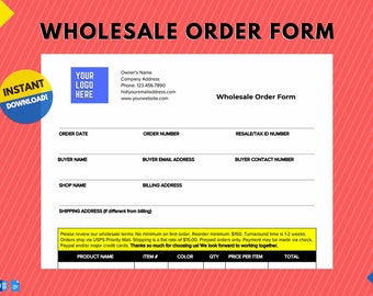 Instant Download | Minimal Wholesale Order Form