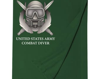 US Army Combat Diver Embroidered Blanket-7677
