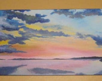 Sunset on lake, ORIGINAL painting, acrylic,  Water, Landscape, sunset, sunrise, Clouds, Sky,