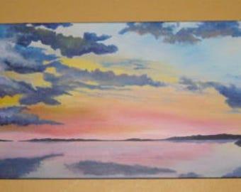 Sunset on lake, ORIGINAL painting, acrylic,  Water, Landscape, sunset, sunrise, Clouds, Sky,
