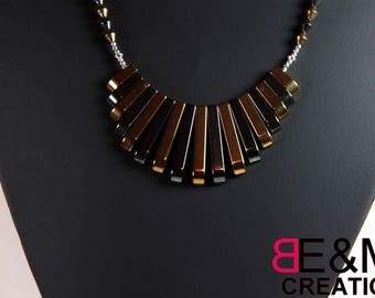 "Egyptian ""sticks"" 2 tone gold and gray, Silver 925 necklace"