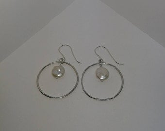 Large hammered silver hoop chandelier earrings with coin freshwater pearl