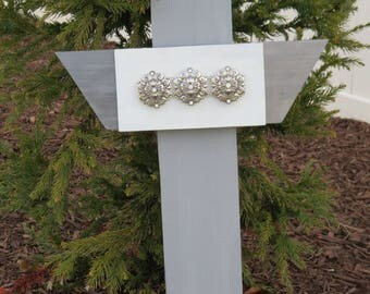 """Decorative Wall Hanging Cross/Gifts for her/Wood Cross/Gray and White/12""""x21"""""""