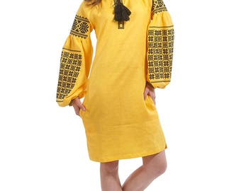 Vyshyvanka dress 100% linen, Ukrainian cross-stitch embroidered dress, Stylish ukrainian dress. Ukrainian yellow dress different colors