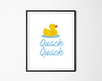 Printable Wall Art, Quack Quack Printable, Bathroom Decor, Rubber Ducky Printable