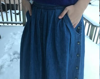 80's High waisted midi denim skirt
