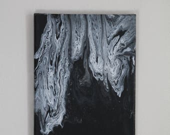 Abstract fluid acrylic black and white 8x10