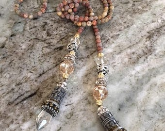 Jasper Crystal Mixed Metal Beaded Lariat Necklace