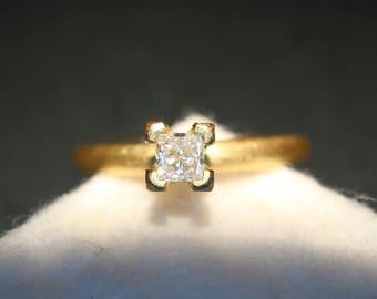 Gold ring with Princess Diamond * diamond ring Stackingring Engagement ring *