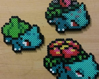 Venusaur Evolution Chain Perler Bead Magnets