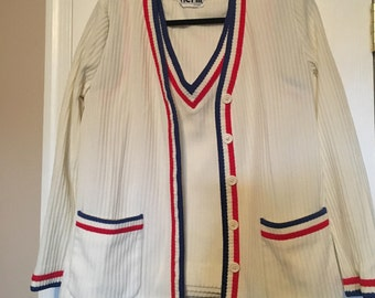 Vintage Act III striped cardigan set Sz M/L made in USA