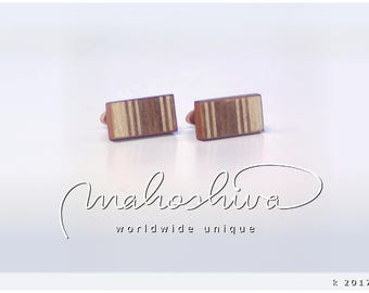 wooden cuff links wood walnut maple handmade unique exclusive limited jewelry - mahoshiva k 2017-93