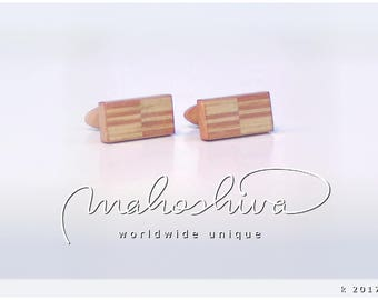 wooden cuff links wood flamed maple maple handmade unique exclusive limited jewelry - mahoshiva k 2017-26