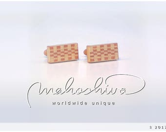 wooden cuff links wood flamed maple maple handmade unique exclusive limited jewelry - mahoshiva k 2017-68